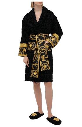 Женский хлопковый халат VERSACE черного цвета, арт. ZACJ00008/ZC0SP052 | Фото 2