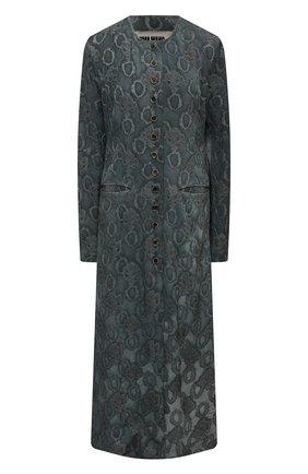 Женское пальто из вискозы UMA WANG бирюзового цвета, арт. S1 W UW8001 | Фото 1 (Рукава: Длинные; Длина (верхняя одежда): Длинные; Стили: Романтичный; Материал внешний: Вискоза; 1-2-бортные: Однобортные)