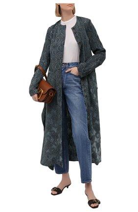 Женское пальто из вискозы UMA WANG бирюзового цвета, арт. S1 W UW8001 | Фото 2 (Рукава: Длинные; Длина (верхняя одежда): Длинные; Стили: Романтичный; Материал внешний: Вискоза; 1-2-бортные: Однобортные)