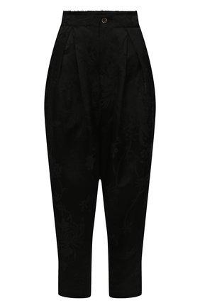 Женские брюки из льна и вискозы UMA WANG черного цвета, арт. S1 W UW3033 | Фото 1 (Материал внешний: Лен, Вискоза; Длина (брюки, джинсы): Укороченные; Силуэт Ж (брюки и джинсы): Широкие; Женское Кросс-КТ: Брюки-одежда; Стили: Гламурный)