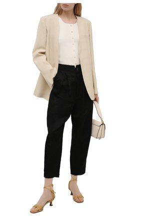 Женские брюки из льна и вискозы UMA WANG черного цвета, арт. S1 W UW3033 | Фото 2 (Материал внешний: Лен, Вискоза; Длина (брюки, джинсы): Укороченные; Силуэт Ж (брюки и джинсы): Широкие; Женское Кросс-КТ: Брюки-одежда; Стили: Гламурный)