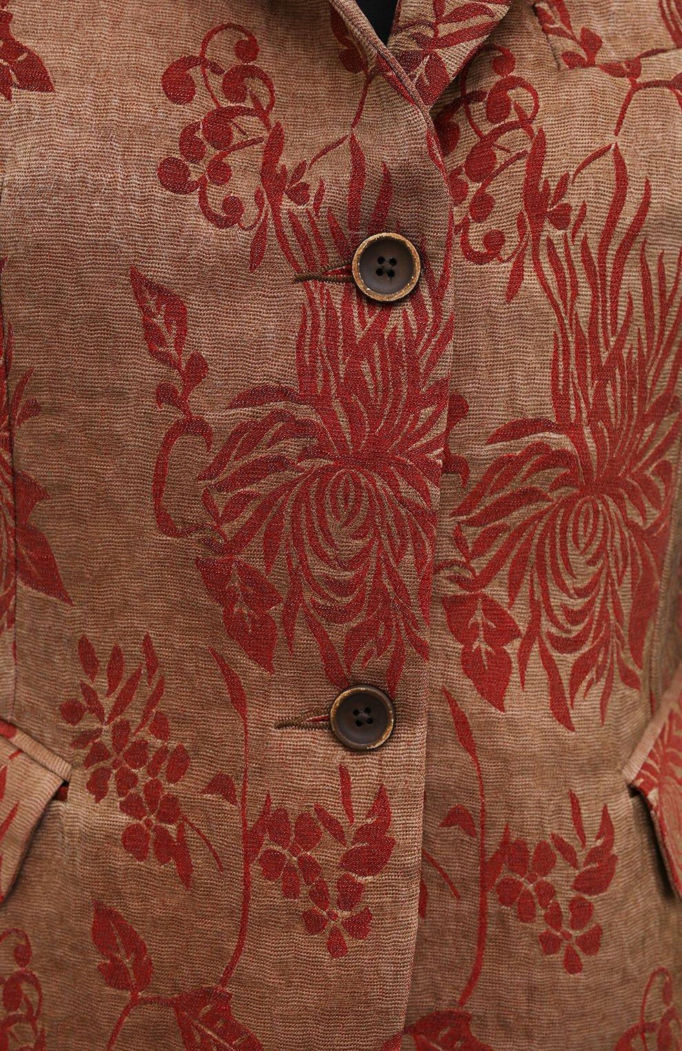 Женский жакет из льна и вискозы UMA WANG коричневого цвета, арт. S1 W UW6010 | Фото 5 (Рукава: Длинные; Стили: Гламурный; Случай: Повседневный; Длина (для топов): Стандартные; 1-2-бортные: Однобортные; Материал внешний: Вискоза, Лен; Женское Кросс-КТ: Жакет-одежда)
