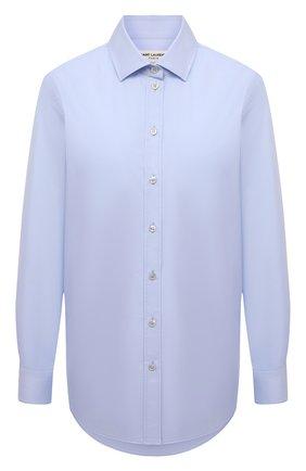 Женская хлопковая рубашка SAINT LAURENT голубого цвета, арт. 648682/Y165R | Фото 1