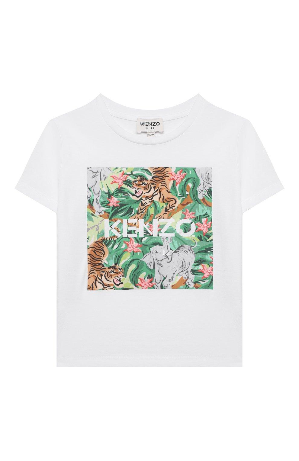 Детская хлопковая футболка KENZO белого цвета, арт. K15087 | Фото 1