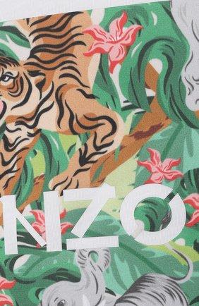 Детская хлопковая футболка KENZO белого цвета, арт. K15087 | Фото 3