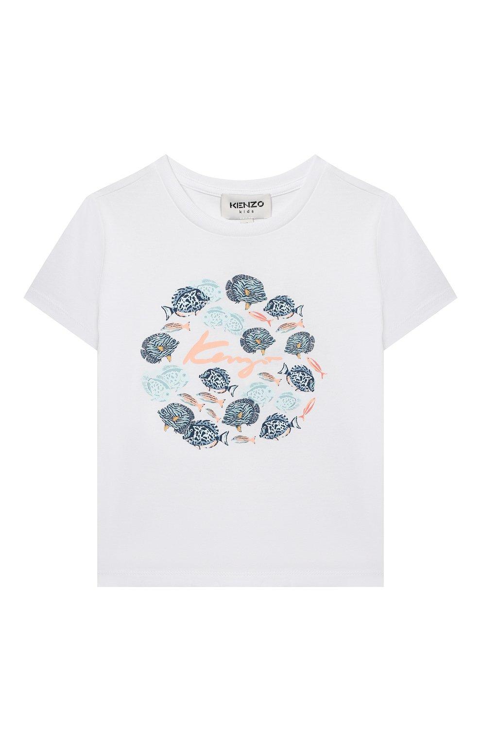 Детская хлопковая футболка KENZO белого цвета, арт. K15101 | Фото 1