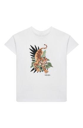 Детская хлопковая футболка KENZO белого цвета, арт. K25106   Фото 1