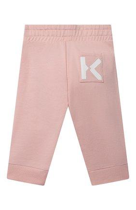 Детские хлопковые джоггеры KENZO розового цвета, арт. K04018 | Фото 2
