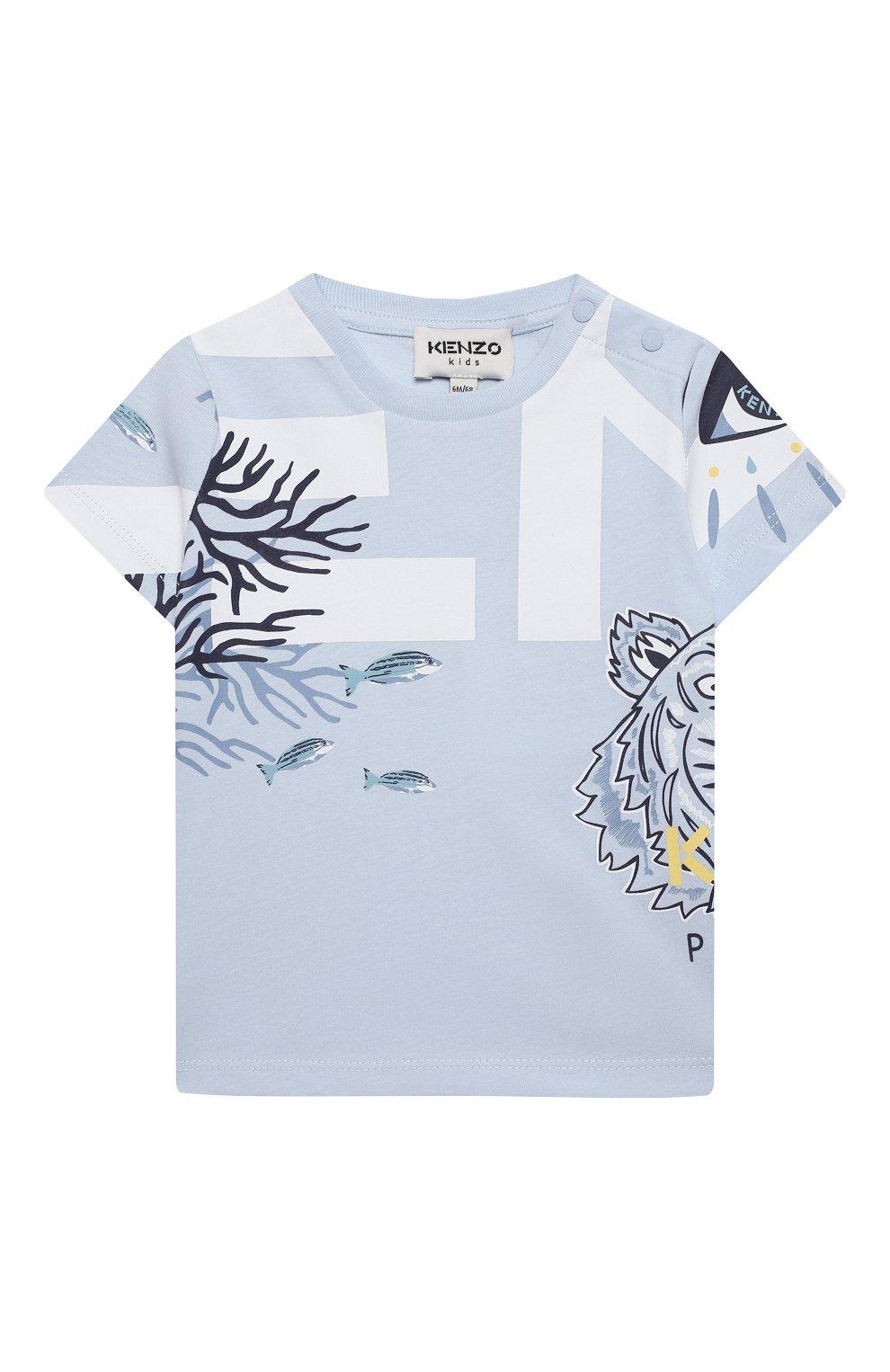 Детский хлопковая футболка KENZO голубого цвета, арт. K05046   Фото 1
