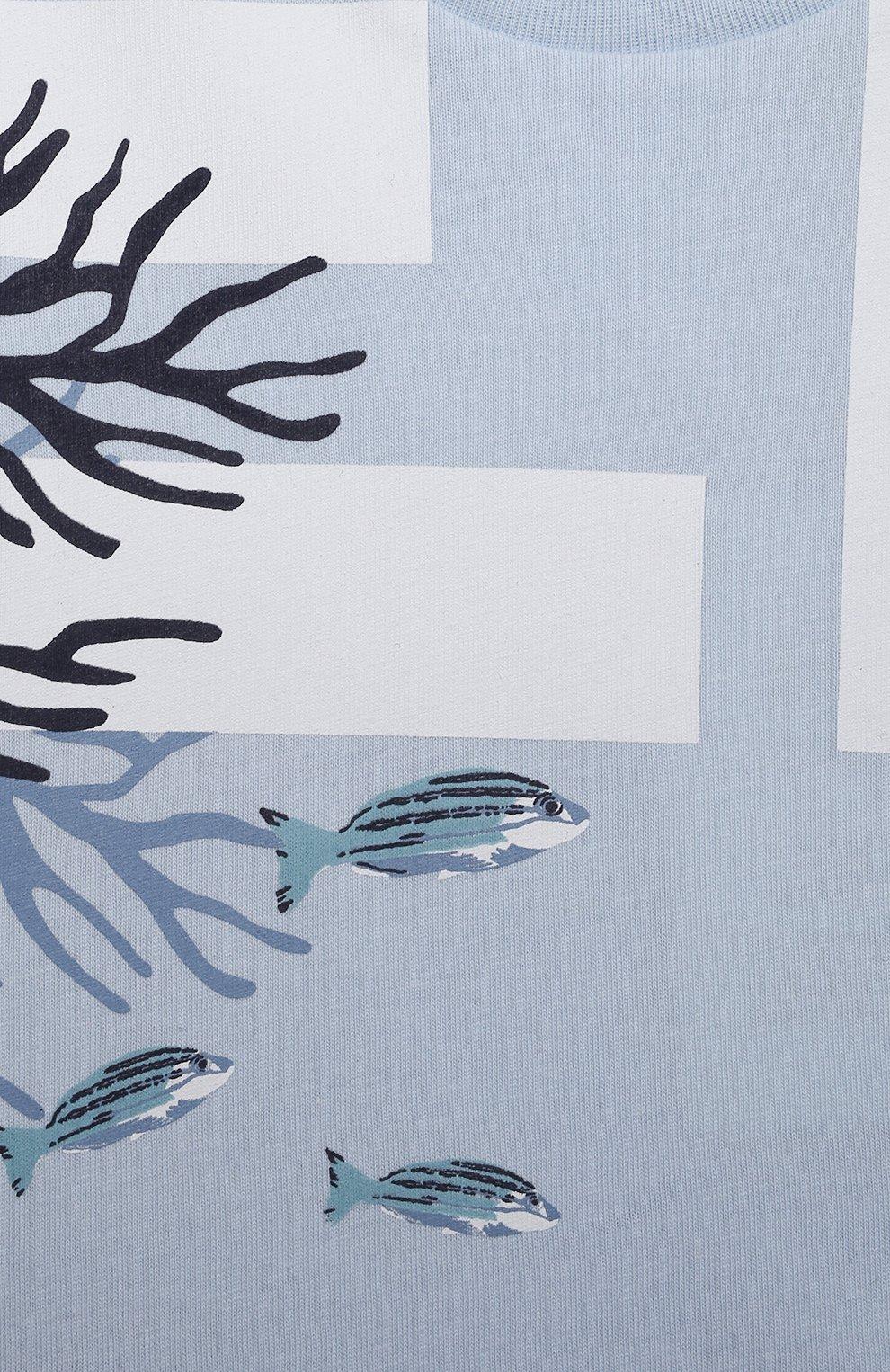 Детский хлопковая футболка KENZO голубого цвета, арт. K05046   Фото 3