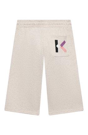 Детские хлопковые брюки KENZO бежевого цвета, арт. K14029 | Фото 2 (Материал внешний: Хлопок; Девочки Кросс-КТ: Брюки-одежда; Ростовка одежда: 10 - 11 лет | 140 - 146см, 12 лет | 152 см, 3 года | 98 см, 4 года | 104 см, 6 лет | 116 см, 8 лет | 128 см)