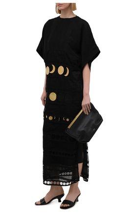 Женское хлопковое платье loewe x paula's ibiza LOEWE черного цвета, арт. S616Y09X12 | Фото 2 (Стили: Бохо; Женское Кросс-КТ: Платье-одежда; Материал подклада: Шелк; Материал внешний: Хлопок; Длина Ж (юбки, платья, шорты): Миди; Случай: Повседневный; Рукава: 3/4)