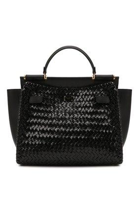 Женская сумка sicily 62 medium DOLCE & GABBANA черного цвета, арт. BB6891/A0709   Фото 1 (Сумки-технические: Сумки top-handle; Ремень/цепочка: На ремешке; Материал: Натуральная кожа; Размер: medium)
