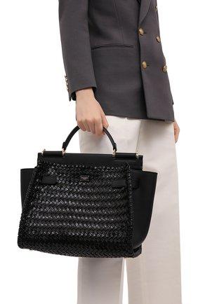 Женская сумка sicily 62 medium DOLCE & GABBANA черного цвета, арт. BB6891/A0709   Фото 2 (Сумки-технические: Сумки top-handle; Ремень/цепочка: На ремешке; Материал: Натуральная кожа; Размер: medium)