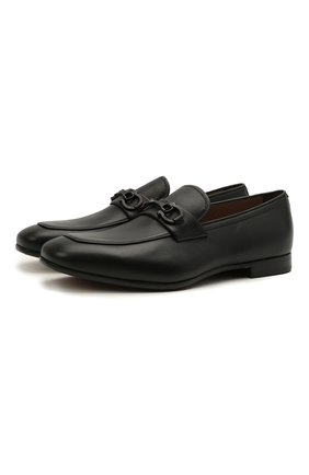 Мужские кожаные лоферы SALVATORE FERRAGAMO черного цвета, арт. Z-07345443E | Фото 1