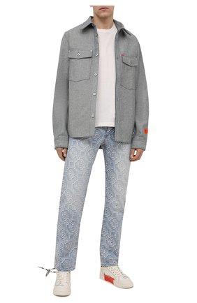 Мужские текстильные кеды OFF-WHITE белого цвета, арт. 0MIA213S21FAB0010140   Фото 2