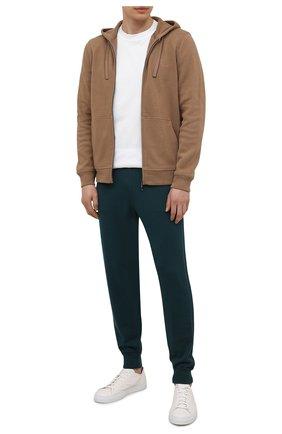 Мужские шерстяные джоггеры LORO PIANA темно-зеленого цвета, арт. FAL6117 | Фото 2 (Силуэт М (брюки): Джоггеры; Мужское Кросс-КТ: Брюки-трикотаж; Материал внешний: Шерсть; Кросс-КТ: Спорт; Стили: Спорт-шик; Длина (брюки, джинсы): Стандартные)