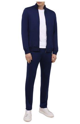 Мужские шерстяные брюки LORO PIANA синего цвета, арт. FAI3034 | Фото 2 (Стили: Спорт-шик; Материал внешний: Шерсть; Мужское Кросс-КТ: Брюки-трикотаж; Случай: Повседневный; Длина (брюки, джинсы): Стандартные)