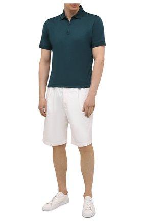Мужское шерстяное поло LORO PIANA темно-зеленого цвета, арт. FAL0543 | Фото 2 (Стили: Кэжуэл; Кросс-КТ: Трикотаж; Материал внешний: Шерсть; Рукава: Короткие; Длина (для топов): Стандартные; Застежка: Молния)