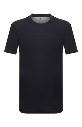 Мужская футболка из шелка и хлопка BRUNELLO CUCINELLI синего цвета, арт. MTS371308 | Фото 1 (Материал внешний: Шелк, Хлопок; Принт: Без принта; Кросс-КТ: Спорт; Стили: Кэжуэл; Рукава: Короткие; Длина (для топов): Стандартные)