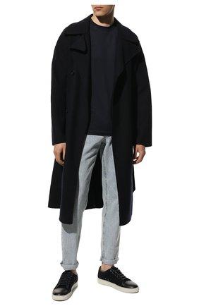 Мужская футболка из шелка и хлопка BRUNELLO CUCINELLI синего цвета, арт. MTS371308 | Фото 2 (Материал внешний: Шелк, Хлопок; Принт: Без принта; Кросс-КТ: Спорт; Стили: Кэжуэл; Рукава: Короткие; Длина (для топов): Стандартные)