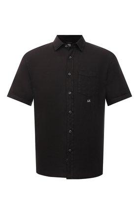 Мужская льняная рубашка C.P. COMPANY черного цвета, арт. 10CMSH310A-005415G | Фото 1