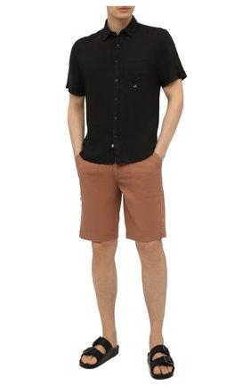 Мужская льняная рубашка C.P. COMPANY черного цвета, арт. 10CMSH310A-005415G | Фото 2