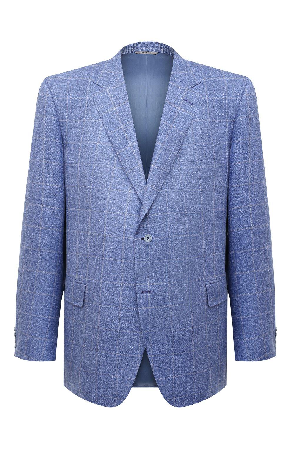 Мужской пиджак из шерсти и шелка CANALI синего цвета, арт. 11280/CF00435/60-64   Фото 1