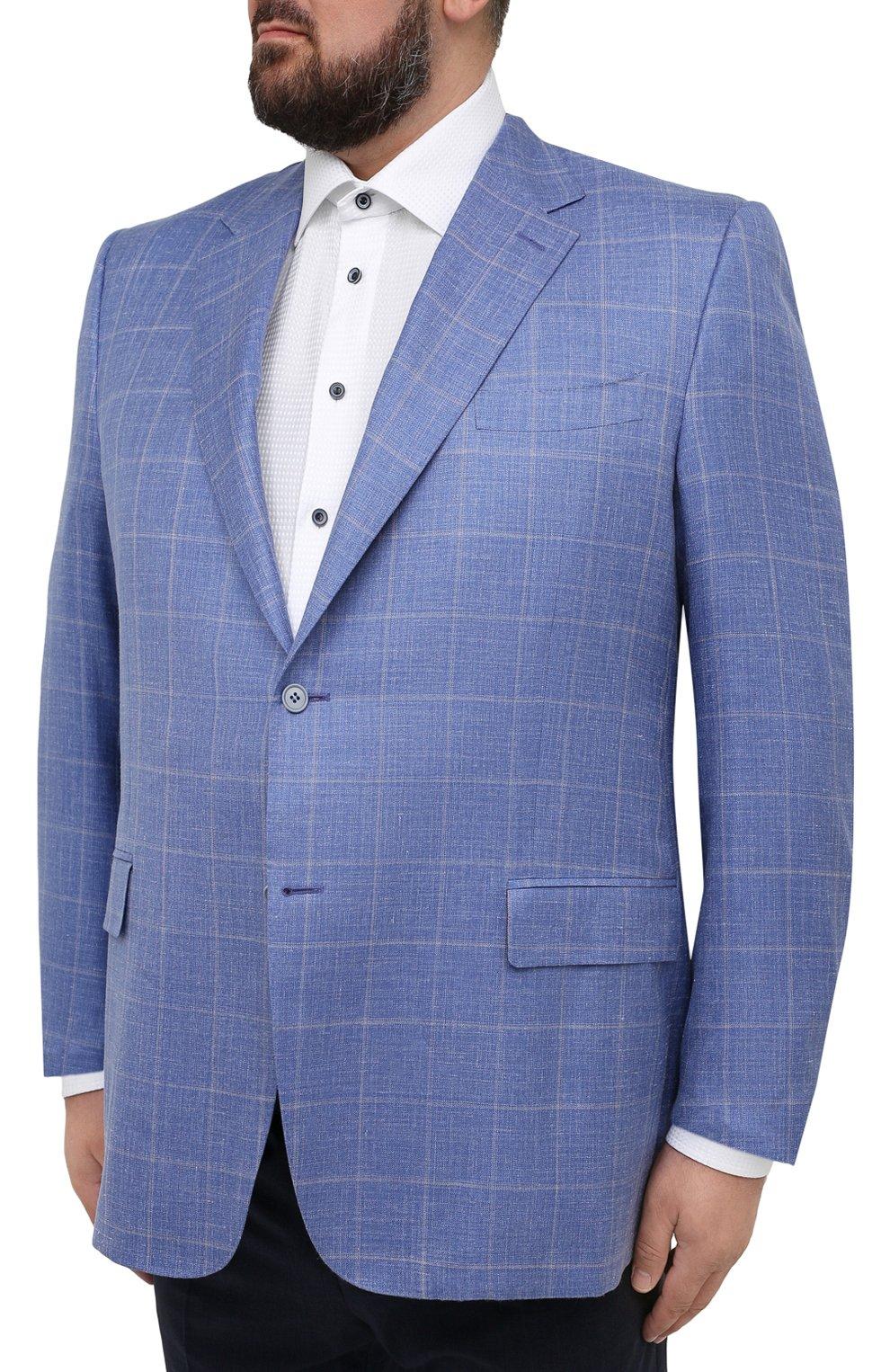 Мужской пиджак из шерсти и шелка CANALI синего цвета, арт. 11280/CF00435/60-64   Фото 3