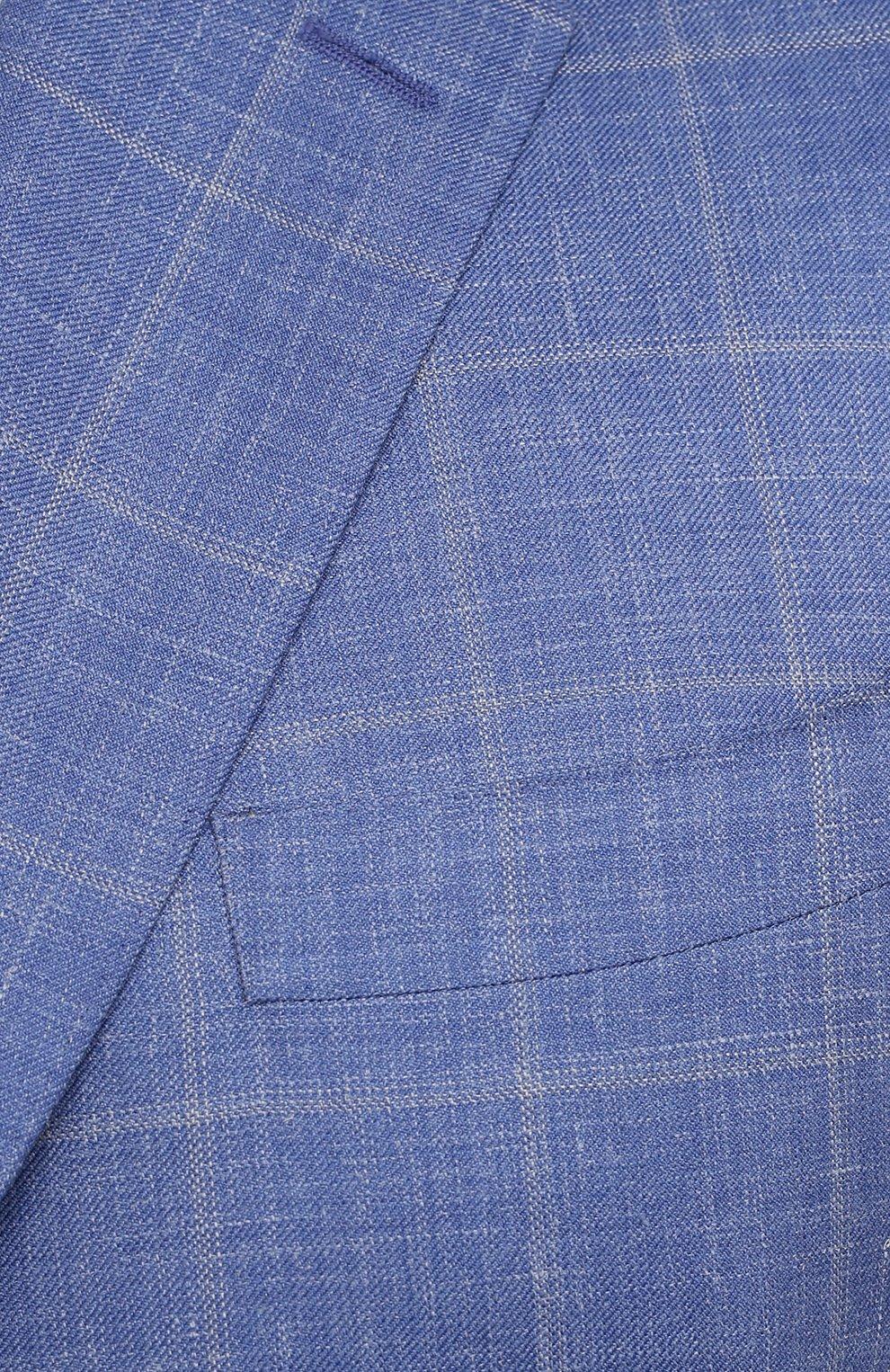 Мужской пиджак из шерсти и шелка CANALI синего цвета, арт. 11280/CF00435/60-64   Фото 5