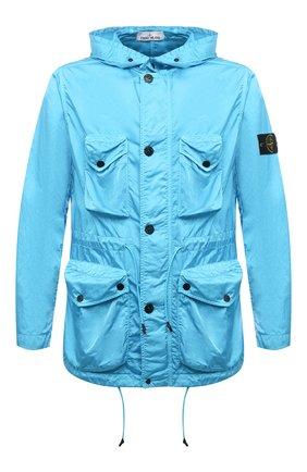 Мужская куртка STONE ISLAND бирюзового цвета, арт. 741544430 | Фото 1 (Материал внешний: Синтетический материал; Стили: Гранж; Кросс-КТ: Куртка, Ветровка; Длина (верхняя одежда): До середины бедра; Рукава: Длинные)