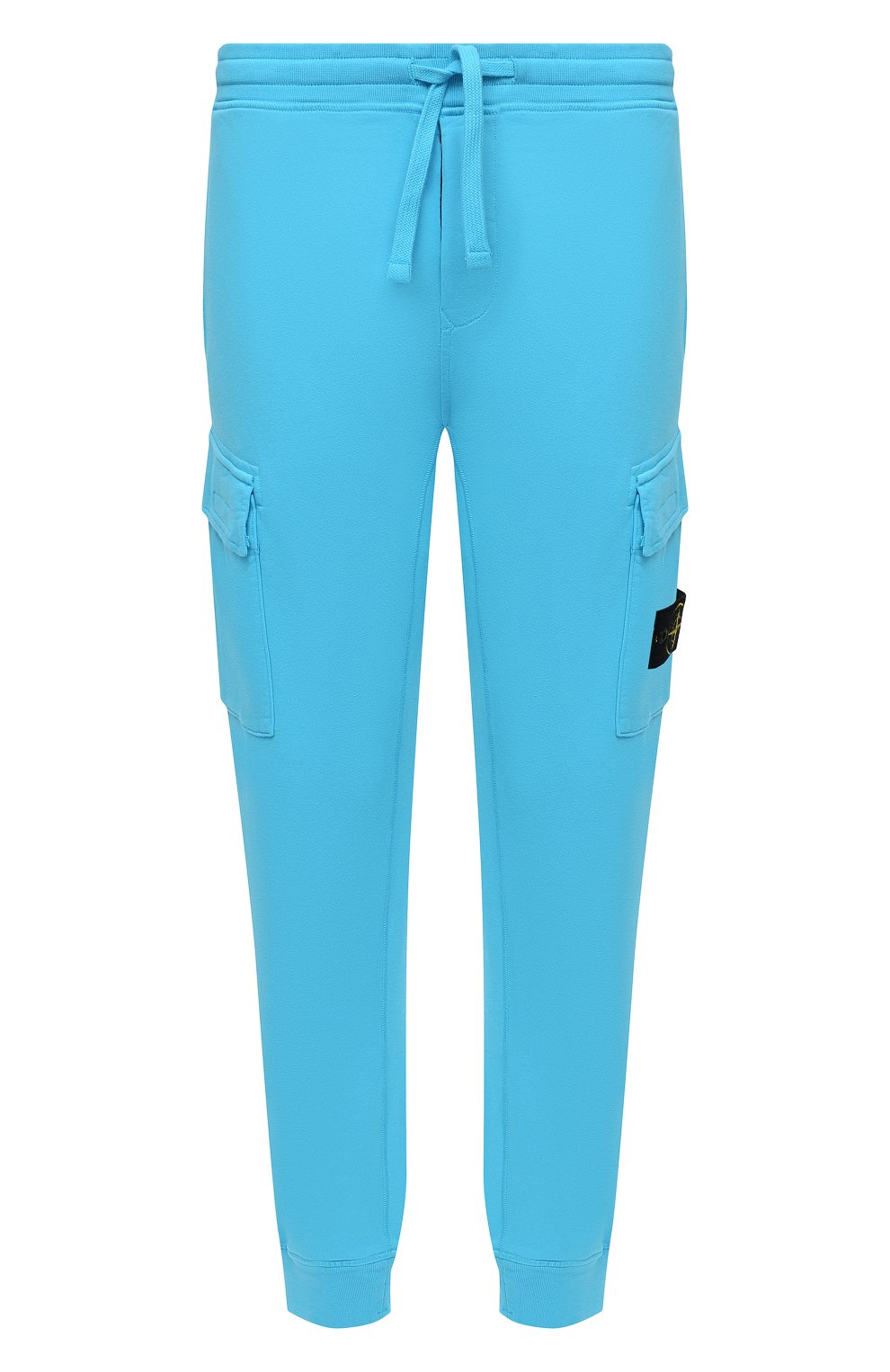 Мужские хлопковые джоггеры STONE ISLAND бирюзового цвета, арт. 741565251   Фото 1 (Мужское Кросс-КТ: Брюки-трикотаж; Длина (брюки, джинсы): Стандартные; Материал внешний: Хлопок; Стили: Спорт-шик; Силуэт М (брюки): Джоггеры)