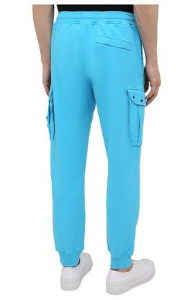 Мужские хлопковые джоггеры STONE ISLAND бирюзового цвета, арт. 741565251   Фото 4 (Мужское Кросс-КТ: Брюки-трикотаж; Длина (брюки, джинсы): Стандартные; Материал внешний: Хлопок; Стили: Спорт-шик; Силуэт М (брюки): Джоггеры)