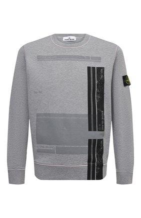 Мужской хлопковый свитшот STONE ISLAND серого цвета, арт. 741563095   Фото 1