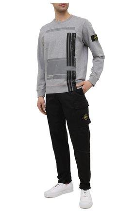 Мужской хлопковый свитшот STONE ISLAND серого цвета, арт. 741563095   Фото 2