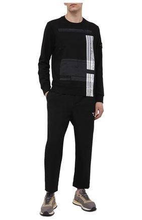 Мужской хлопковый свитшот STONE ISLAND черного цвета, арт. 741563095 | Фото 2