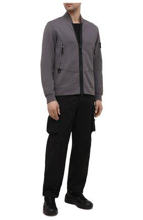 Мужской хлопковая толстовка STONE ISLAND темно-серого цвета, арт. 741560351   Фото 2