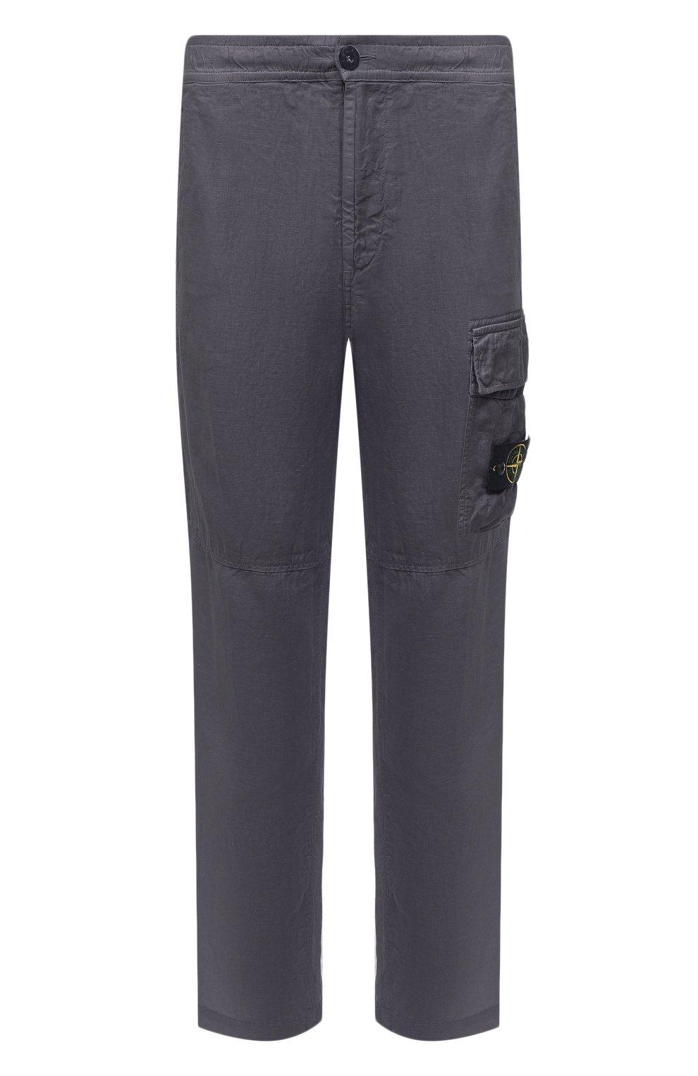 Мужские льняные брюки-карго STONE ISLAND серого цвета, арт. 741531601   Фото 1 (Силуэт М (брюки): Карго; Длина (брюки, джинсы): Стандартные; Случай: Повседневный; Стили: Гранж; Материал внешний: Лен)