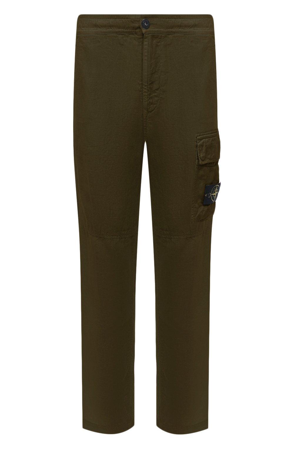 Мужские льняные брюки-карго STONE ISLAND хаки цвета, арт. 741531601   Фото 1 (Силуэт М (брюки): Карго; Длина (брюки, джинсы): Стандартные; Случай: Повседневный; Стили: Милитари; Материал внешний: Лен)