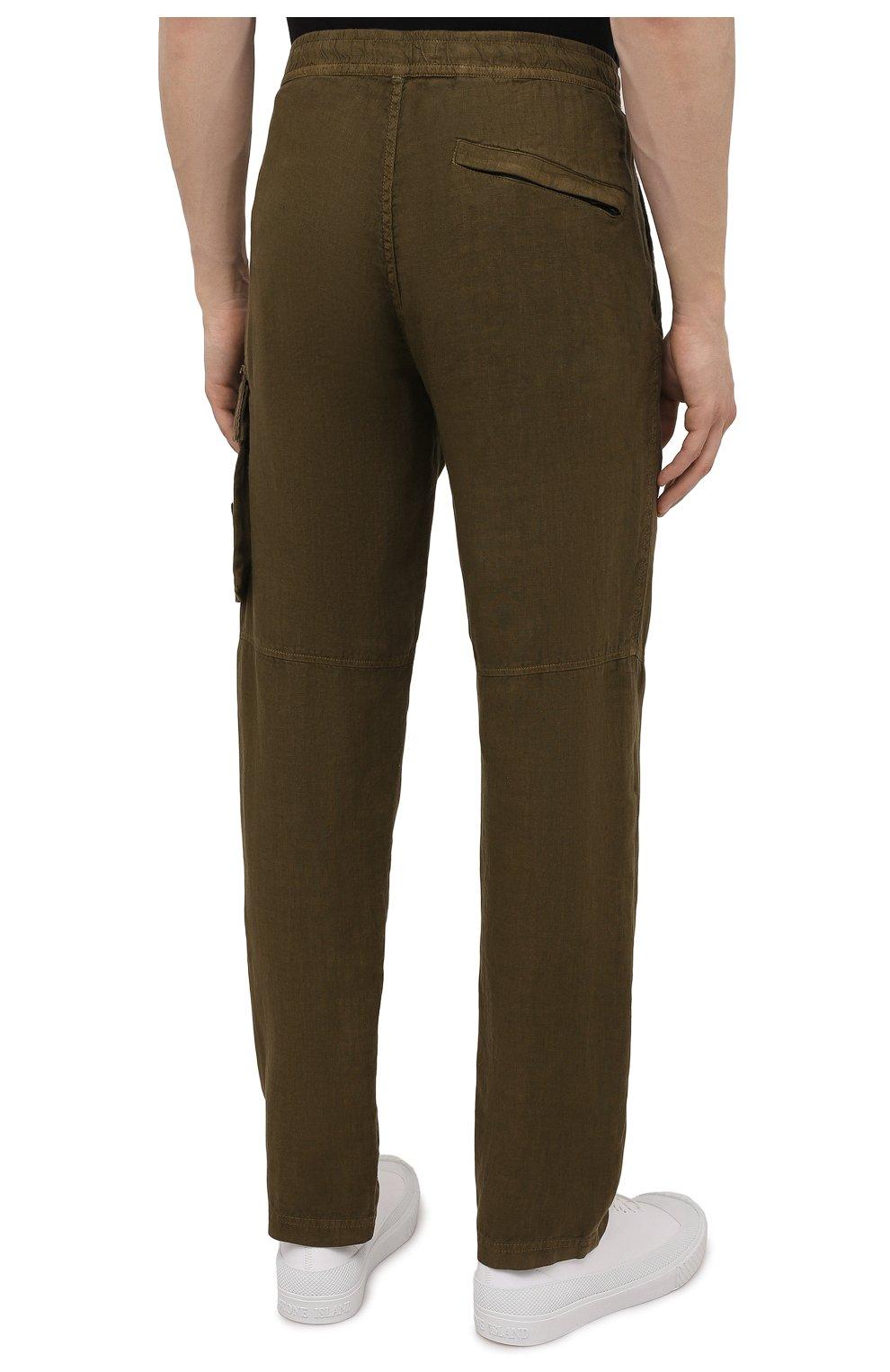 Мужские льняные брюки-карго STONE ISLAND хаки цвета, арт. 741531601   Фото 4 (Силуэт М (брюки): Карго; Длина (брюки, джинсы): Стандартные; Случай: Повседневный; Стили: Милитари; Материал внешний: Лен)