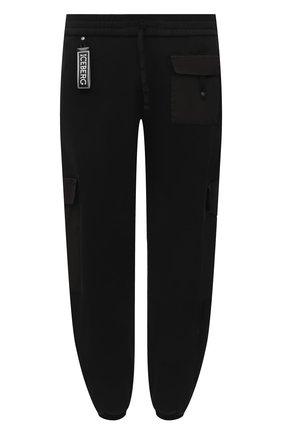 Мужские хлопковые джоггеры ICEBERG черного цвета, арт. 21E I1P0/B120/4057 | Фото 1 (Мужское Кросс-КТ: Брюки-трикотаж; Стили: Спорт-шик; Материал внешний: Хлопок; Силуэт М (брюки): Джоггеры; Длина (брюки, джинсы): Укороченные)