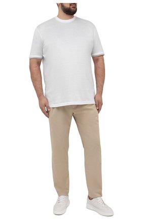 Мужские хлопковые брюки EDUARD DRESSLER бежевого цвета, арт. 150138/51W09 | Фото 2