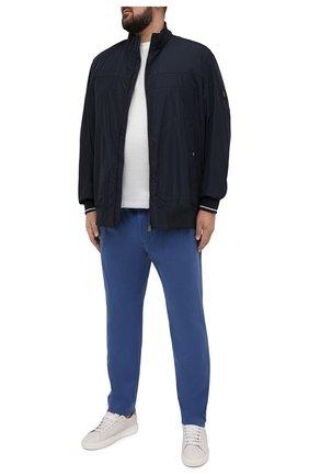 Мужские хлопковые брюки EDUARD DRESSLER синего цвета, арт. 150138/51W09 | Фото 2