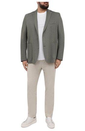 Мужской хлопковый пиджак EDUARD DRESSLER хаки цвета, арт. 7301/21J02 | Фото 2