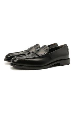 Мужские кожаные пенни-лоферы FENDI черного цвета, арт. 7D1418 AF50   Фото 1