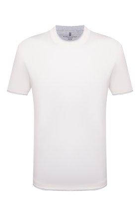 Мужская хлопковая футболка BRUNELLO CUCINELLI белого цвета, арт. M0T617427 | Фото 1