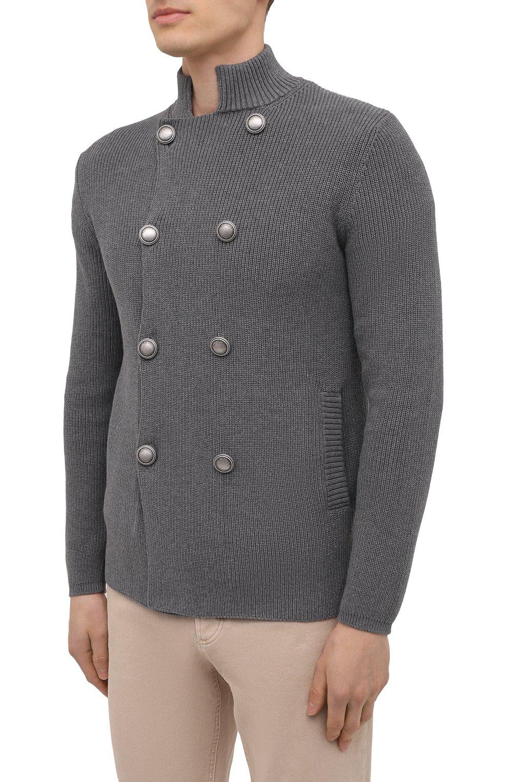 Мужской хлопковый кардиган BRUNELLO CUCINELLI серого цвета, арт. M2873326   Фото 3