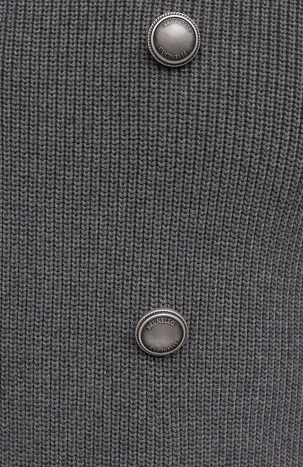 Мужской хлопковый кардиган BRUNELLO CUCINELLI серого цвета, арт. M2873326   Фото 5