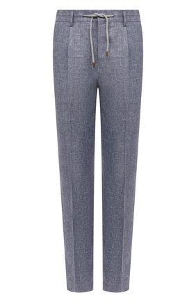 Мужские брюки изо льна и шерсти BRUNELLO CUCINELLI синего цвета, арт. MD495L006   Фото 1