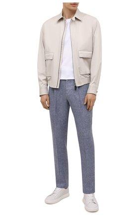 Мужские брюки изо льна и шерсти BRUNELLO CUCINELLI синего цвета, арт. MD495L006   Фото 2